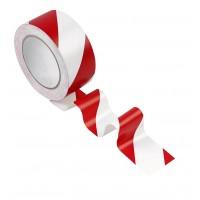 Сигнална лента, самозалепваща червено/бяла  50mm x 25 m