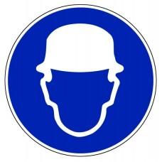 """Стикер """" Задължително носенето на пред. шлем"""" - ф 200, 300 мм"""