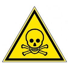 """Стикер """" Внимание - токсичен материал""""  - триъгълен"""