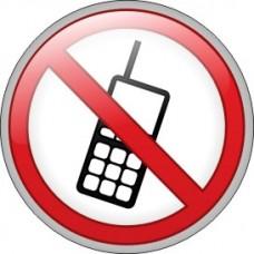 """ПВЦ знак """"Забранено изпозването на мобилен телефон"""", ф 200 мм"""