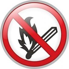 """ПВЦ знак """"Забранено пушенето и паленето на открит огън"""", ф 200 мм"""