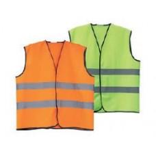 Светлоотразителна жилетка - 2 ленти, оранж/жълта